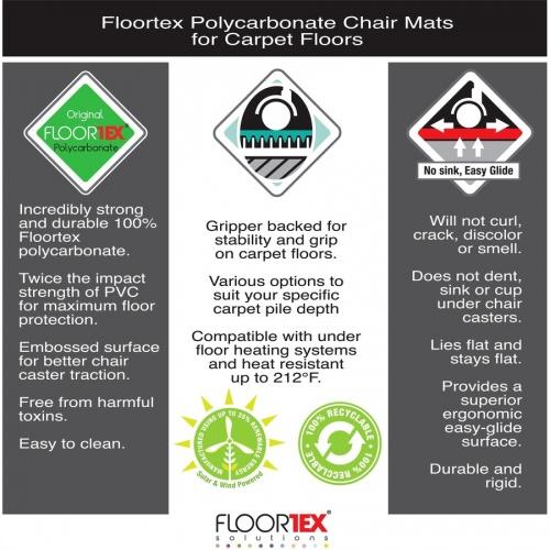 Floortex Cleartex Ultimat Low/Medium Pile Carpet Rectangular Chairmat (1120023ER)