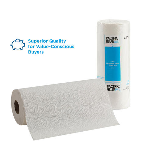 Georgia Pacific Blue Select Two-Ply Perforated Paper Kitchen Roll Towels, 11 x 8.8, White, 100/Roll, 30 Rolls/Carton (27300CT)