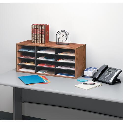 Fellowes Literature Organizer - 12 Compartment Sorter, Medium Oak (25400)