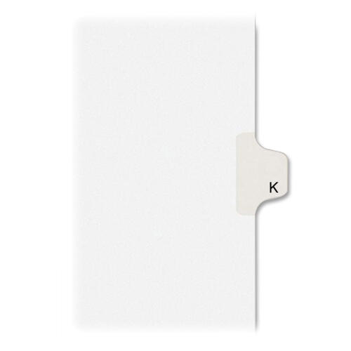 Avery Individual Legal Dividers Allstate(R) Style, Letter Size, Side Tab K (82173)