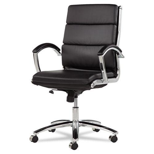 Alera Neratoli Mid-Back Slim Profile Chair, Supports up to 275 lbs., Black Seat/Black Back, Chrome Base (ALENR4219)