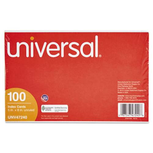 100//Pack White 47240 5 x 8 Universal Unruled Index Cards