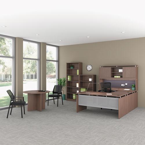 Alera Sedina Series Hutch with Sliding Doors, 66w x 15d x 42.5h, Modern Walnut (ALESE266615WA)