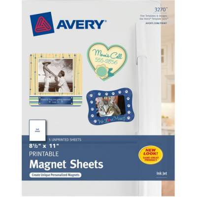 "Avery Printable Magnetic Sheets, 8-1/2"" x 11"", Inkjet Printers, 5 Sheets (3270)"