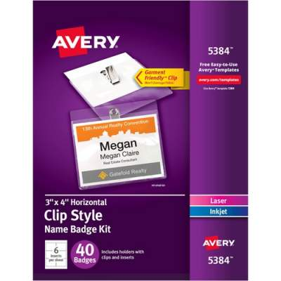 Avery Top-Loading Garment-Friendly Clip Style Name Badges, 3 x 4, Box of 40 (5384)