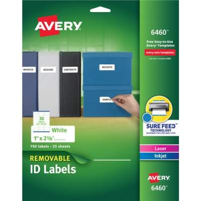 Avery Removable ID Labels, Sure Feed(TM) Technology, Removable Adhesive, 1