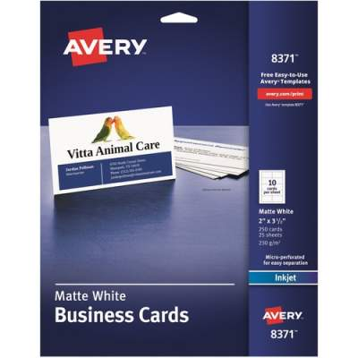 "Avery Business Cards, Matte, 2-Sided Printing, 2"" x 3-1/2"", 250 Cards (8371)"