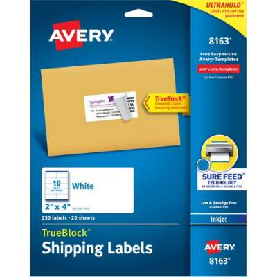"Avery TrueBlock(R) Shipping Labels, Sure Feed(TM) Technology, Permanent Adhesive, 2"" x 4"", 250 Labels (8163)"