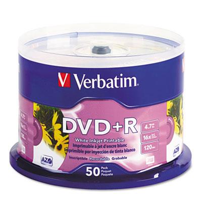Verbatim Inkjet Printable DVD+R Discs, White, 50/Pack (95136)