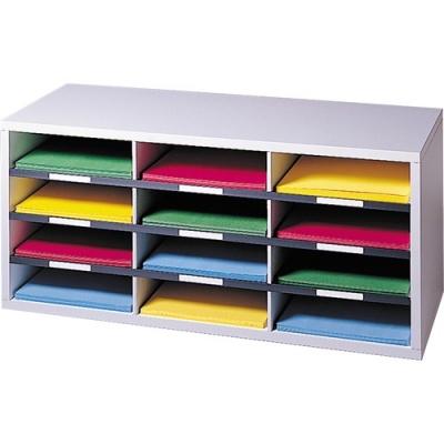 Fellowes Literature Organizer - 12 Compartment Sorter, Dove Gray (25004)