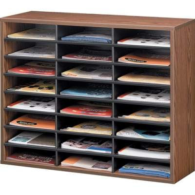 Fellowes Literature Organizer - 24 Compartment Sorter, Medium Oak (25043)