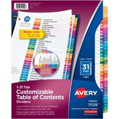 Avery Ready Index 31 Tab Dividers, Customizable TOC, 1 Set (11129)