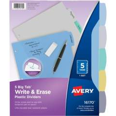 Avery Big Tab Write & Erase Durable Dividers, 5 Multicolor Tabs (16170)