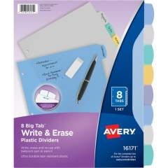 Avery Avery Big Tab Write & Erase Durable Plastic Dividers, 8 Multicolor Tabs, 1 Set (16171)