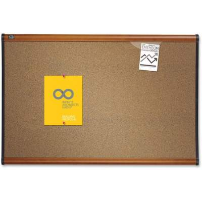 ACCO Quartet Prestige Colored Cork Bulletin Board, 4' x 3', Light Cherry Finish Frame (B244LC)