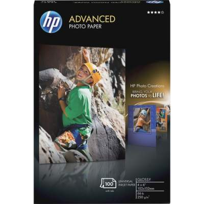 HP Advanced Glossy Photo Paper-100 sht/4 x 6 in borderless (Q6638A)