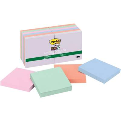 3M Post-it Super Sticky Recycled Notes, 3 in x 3 in, Bali Color Collection (654-12SSNRP)