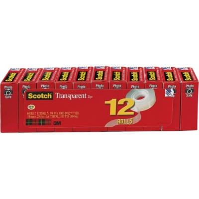 "3M Scotch Transparent Tape, 3/4"" x 1000"" (600K12)"