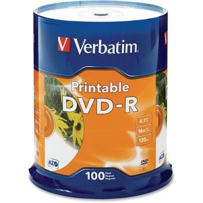 Verbatim DVD-R 4.7GB 16X White Inkjet Printable - 100pk Spindle (95153)