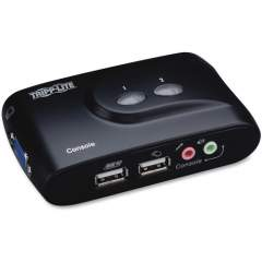 Tripp Lite 2-Port Desktop Compact USB KVM Switch with Audio & Cable Kit (B004VUA2KR)