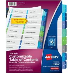 Avery Double Column 16 Tab Dividers, Customizable TOC, 1 Set (11320)