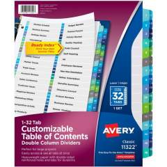 Avery Double Column 32 Tab Dividers, Customizable TOC, 1 Set (11322)