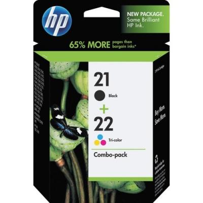 HP 21 Black/22 Tri-color 2-pack Original Ink Cartridges (C9509FN)