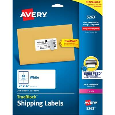 Avery TrueBlock(R) Shipping Labels, Sure Feed(TM) Technology, Permanent Adhesive, 2