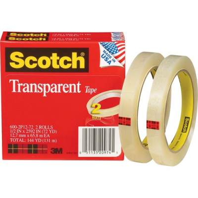 "3M Scotch Transparent Tape, 1/2"" x 2592"" (600-2P12-72)"