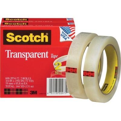 "3M Scotch Transparent Tape, 3/4"" x 2592"" (600-2P34-72)"