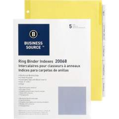 Business Source Buff Stock Ring Binder Indexes (20068)