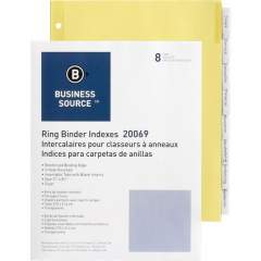 Business Source Buff Stock Ring Binder Indexes (20069)
