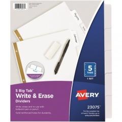 Avery Big Tab(TM) Write & Erase Dividers, 5 White Tabs, 1 Set (23075)