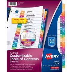 Avery Ready Index A-Z 26 Tab Dividers, Customizable TOC, 1 Set (11125)