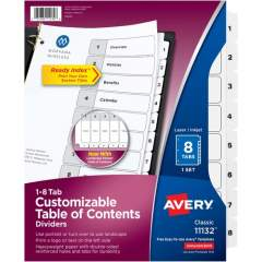 Avery Ready Index 8 Tab Dividers, Customizable TOC, 1 Set (11132)