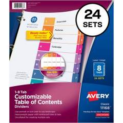 Avery Ready Index 8 Tab Dividers, Customizable TOC, 24 Sets (11168)