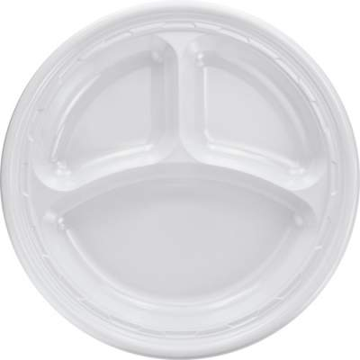 Dart 3-sect Disposable Plastic Dinnerware Plate (10CPWF)