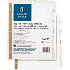 Business Source Tear-resistant Clear Tab Index Dividers (16477)