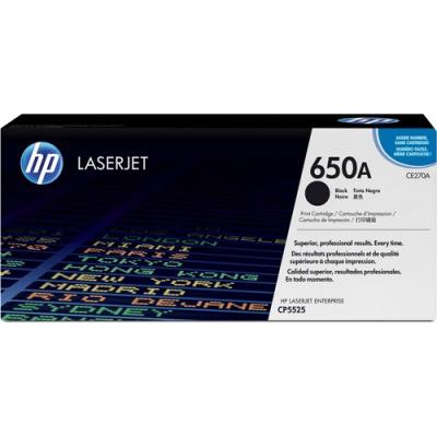 HP 650A Black Original LaserJet Toner Cartridge (CE270A)