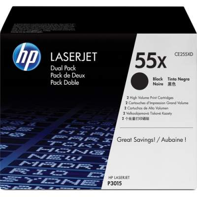 HP 55X 2-pack High Yield Black Original LaserJet Toner Cartridges (CE255XD)