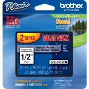 "Brother 1/2"" Black/Clear Laminated TZe Tape Value Pack (TZE1312PK)"