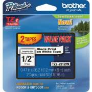 "Brother 1/2"" Black/White TZe Laminated Tape Value Pack (TZE2312PK)"