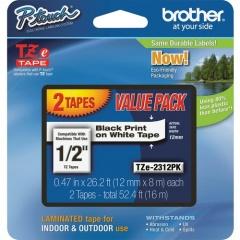 "Brother 1/2"" Black/White TZe Laminated Tape Value Pack (TZE2312PK)"
