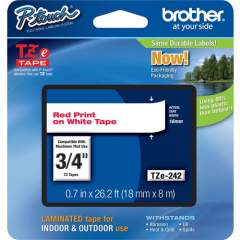 """Brother 18mm (0.7"""") Red on White tape for P-Touch 8m (26.2 ft) (TZE242)"""