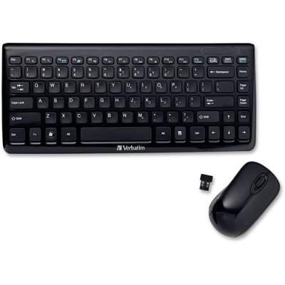 Verbatim Wireless Mini Slim Keyboard and Optical Mouse - Black (97472)