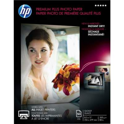 HP Premium Plus Glossy Photo Paper-50 sht/Letter/8.5 x 11 in (CR664A)