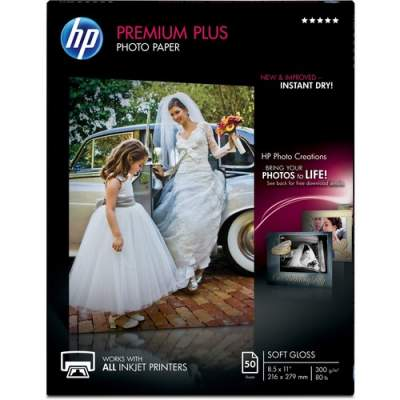 HP Premium Plus Soft-gloss Photo Paper-50 sht/Letter/8.5 x 11 in (CR667A)