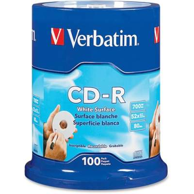 Verbatim CD-R 700MB 52X with Blank White Surface - 100pk Spindle (94712)