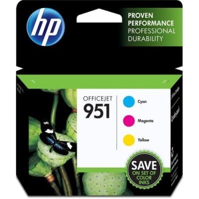 HP 951 3-pack Cyan/Magenta/Yellow Original Ink Cartridges (CR314FN)