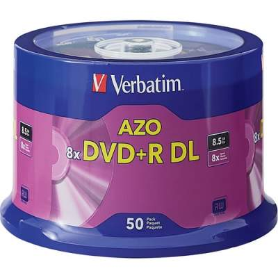 Verbatim DVD+R DL 8.5GB 8X with Branded Surface - 50pk Spindle (97000)